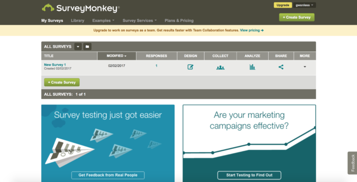 Survey tools: survey monkey homepage